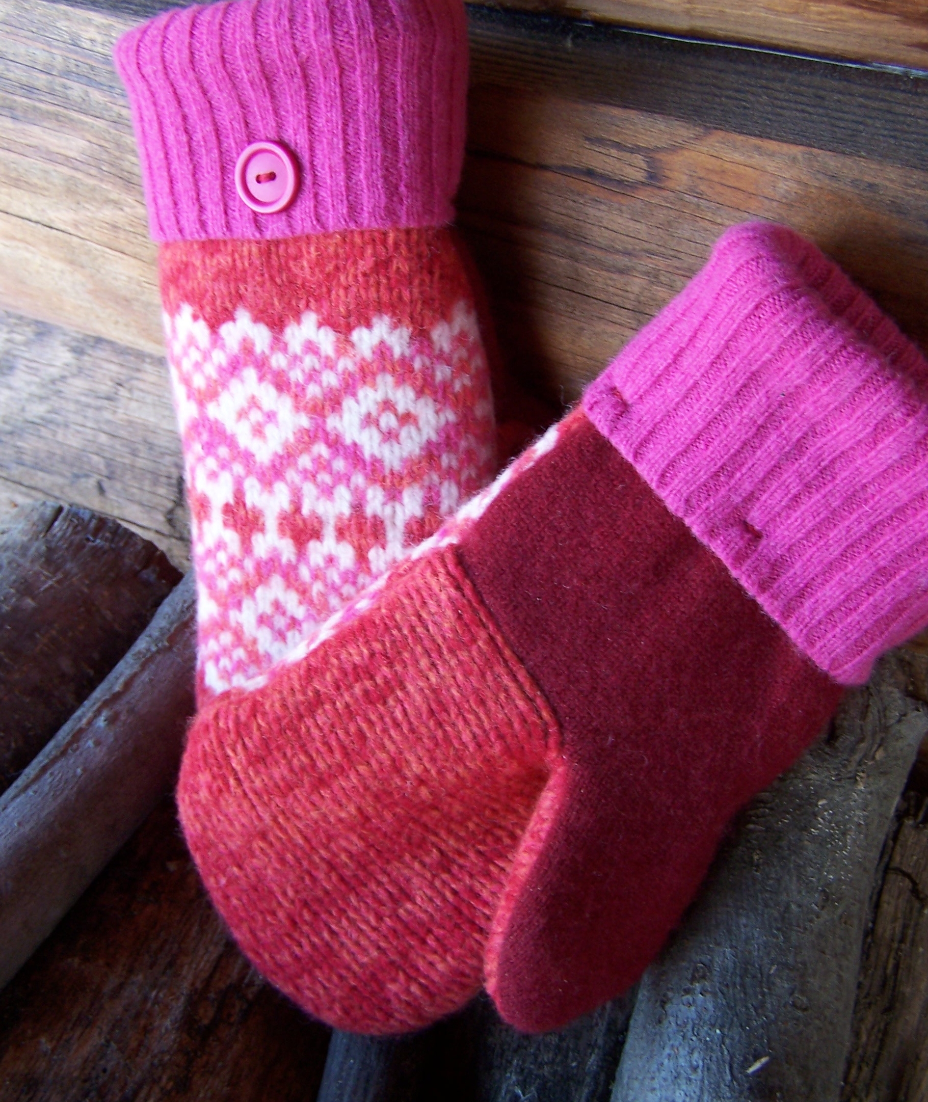 Felted Wool Mittens From Old Sweaters