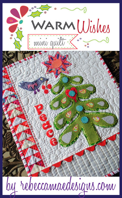 christmas mini quilt with big stitch quilting tutorial