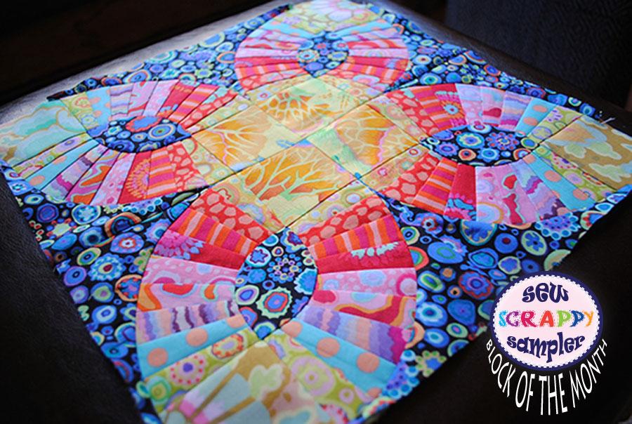 modern quilt block of the month in kaffe fassett fabric